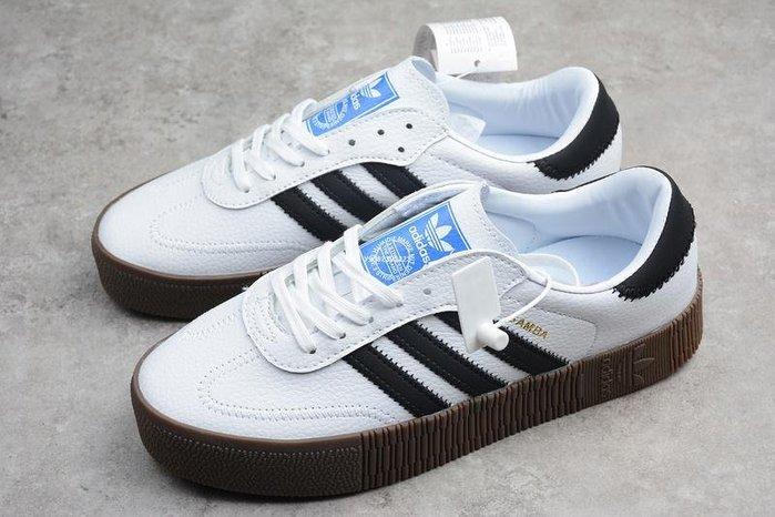 Adidas Originals Samba Rose 黑白 百搭 厚底增高 經典 休閒滑板 AQ1134 女鞋