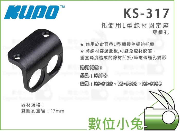 數位小兔【KUPO KS-317 L型線材固定板】托盤用 固定座 穿線孔 配件 線夾 雙圓孔直徑17mm