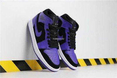 Air Jordan 1 Mid 黑紫腳趾 休閒運動 籃球鞋 554724-051 男女鞋