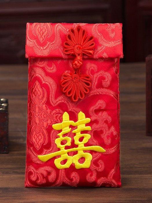 爆款婚慶用品結婚改口禮金萬元紅包婚禮創意聘金利是封布藝大紅包袋子#新年用品#創意#個性