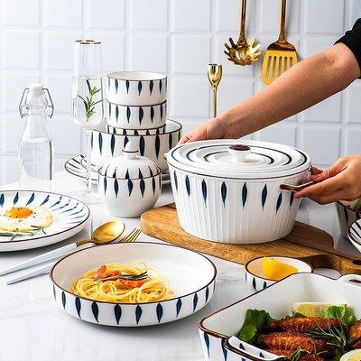 有一間店-【現貨】日式創意個性手繪陶瓷餐具碗碟套裝沙拉碗湯碗盤子(規格不同 價格不同)