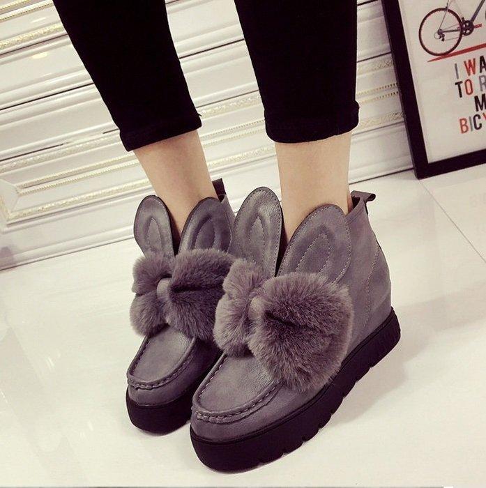 GOGO SHOP☆╭╭♥GT0030♥新品發佈韓版甜美可愛兔耳朵秋季女鞋潮女靴子毛毛厚底短靴 雪靴