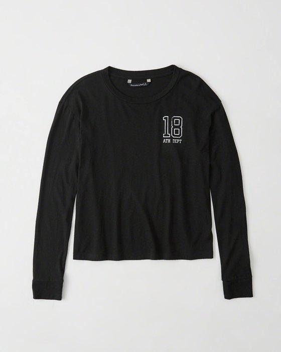 Maple麋鹿小舖 Abercrombie&Fitch * AF 黑色印花字母長袖T* ( 現貨L號 )