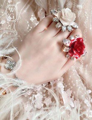 :::W.G:::歐美奢華系列紅玫瑰與白玫瑰戒指 D&G