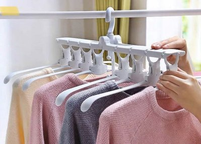 多功能折疊衣服收納器 (藍色)