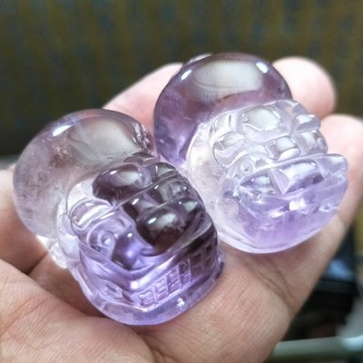 紫黃晶貔貅一對 63克 送LED燈座  40X26X19mm 33克 / 37X25X21mm 30克