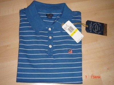 全新真品POLO JEANS CO. RALPH LAUREN藍白條紋POLO衫~尺寸M