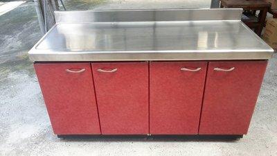 (YOYA)144公分工作平台分件式流理台-整體不鏽鋼(美耐板門板)144P