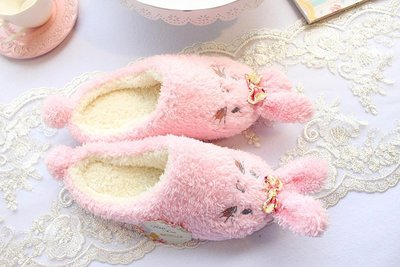 秋冬保暖室內拖鞋 可愛小兔 橡膠底止滑...