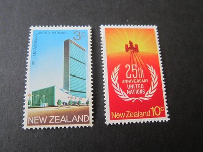 【雲品】紐西蘭New Zealand 1970 Sc 462-3 United Nations (2) set MNH 庫號#48009