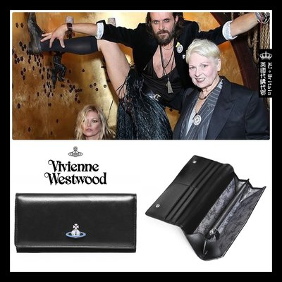 ♔MissyJ英國代購♥ Vivienne Westwood 英倫龐克教母銀藍土星黑色義大利全牛皮革真皮夾錢包掀蓋式長夾