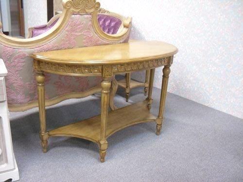 OUTLET限量低價出清- 全新古典家具--亞威復古刷舊雕刻4尺半圓玄關桌 促銷 優惠 9500 元.