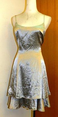 都會名牌~【By Choice 】銀色雙層蛋糕裙細肩帶洋裝 ~ A25