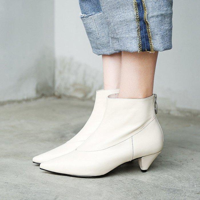 『Alice❤愛麗絲』秋冬短靴新款真皮拼接粗跟氣質裸靴真皮女短靴秋冬小白靴