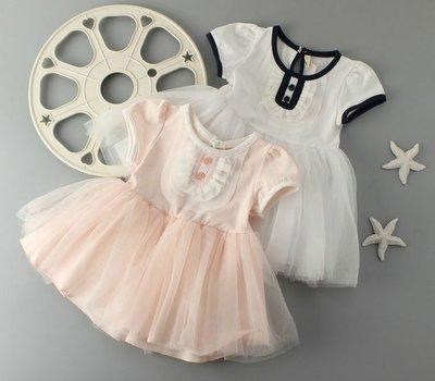 滿699 ~MONKEY BABY ~幼童2扣紗裙棉質洋裝粉色 70369