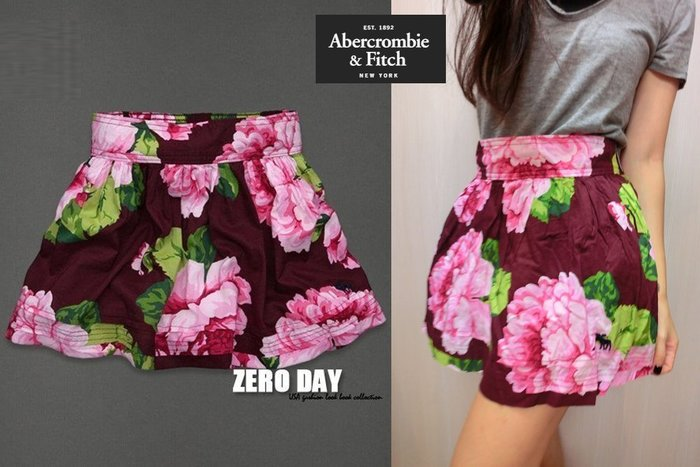 【零時差美國時尚網】A&F Abercrombie&Fitch MADELINE SKIRT超美雙層大花花短裙-酒紅色