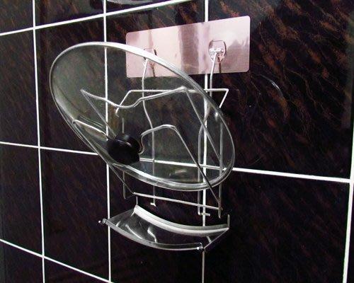 ☆成志金屬☆S-41-2T 免鑽孔強力無痕貼掛304不鏽鋼二層鍋蓋架,可放炒菜鍋大鍋蓋附集水盤