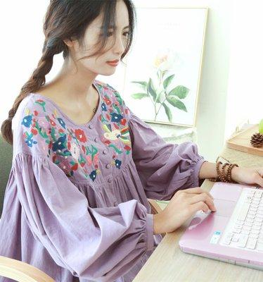 【子芸芳】文藝燈籠袖繡花寬鬆大碼長袖棉麻/棉布襯衫 娃娃衫
