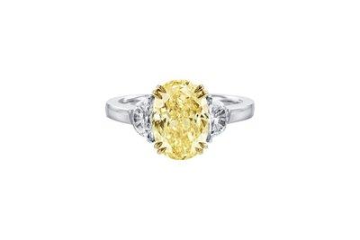 5克拉 橢圓形黃色彩鑽(莫桑石 摩星鑽 鑽石 裸石) GIA驗證 鑽石品質