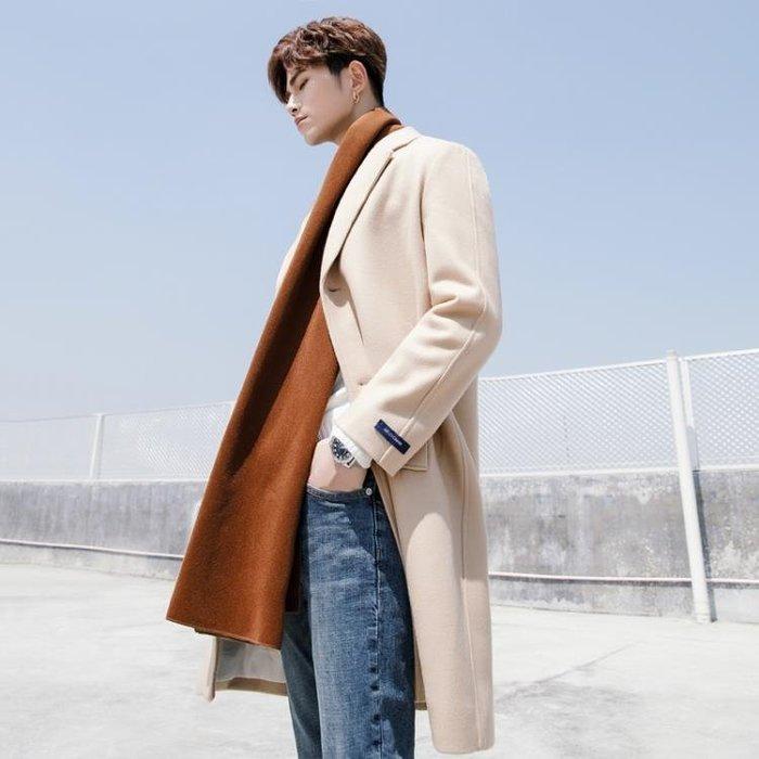 毛呢外套男正韓毛呢大衣男中長款純色修身加厚呢大衣
