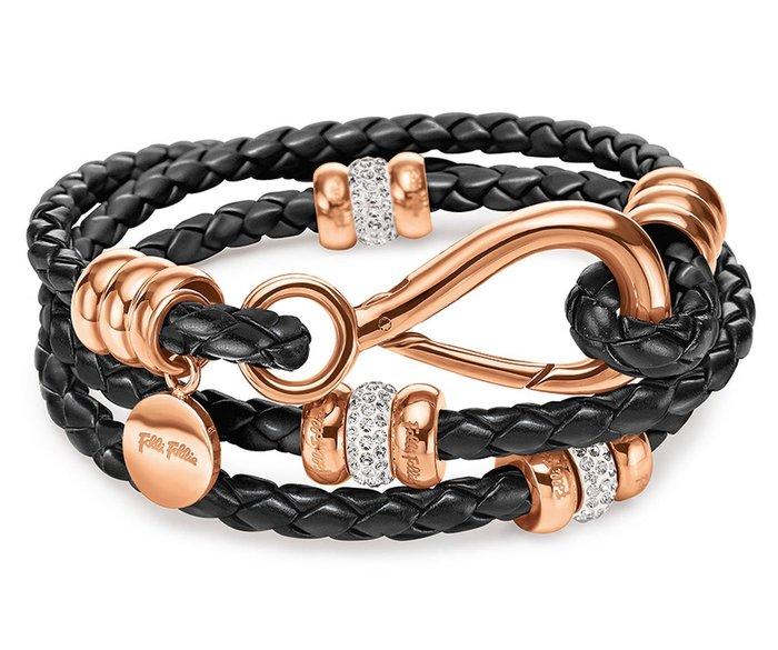 全新從未戴過 Folli Follie 鍍玫瑰金鑲鋯石人造皮年輕款手環,只有一件!低價起標無底價,本商品免運費!