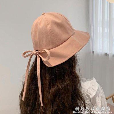 漁夫帽日系軟妹甜美可愛繫帶蝴蝶結子女夏...
