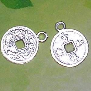 琥珀貓~【925純銀材料配件】吉祥古錢墜飾~N9334款~吉祥如意龍鳳古錢~11mm~一個