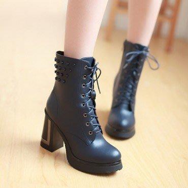 yes99buy加盟-秋冬新款女鞋 系帶粗跟短筒女靴