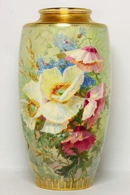 英國骨董瓷器明頓 Minton 手繪虞美人花瓶 畫師簽名 L. Rivers