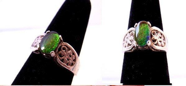 小風鈴~天然極品925銀七彩斑彩石戒指(重2.7g)又名~發達石.麒麟石(帶強烈綠光.藍光)
