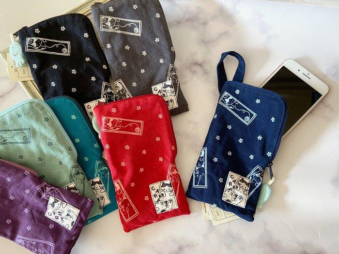 日本卡拉貓~和風貓咪內刷毛手機袋