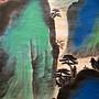 【 金王記拍寶網 】S1998  張大千款 潑彩 山水圖 手繪書畫捲軸一幅 罕見 稀少~