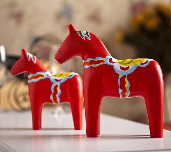 凱西美屋 北歐鄉村原木 達拉木馬套裝 擱板 婚慶 擺件 瑞典紅馬