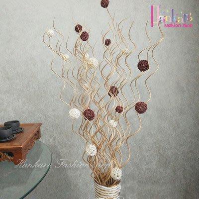 ☆[Hankaro]☆ 浪漫花藝乾燥柳條籐球落地型花藝含鐵藝花瓶