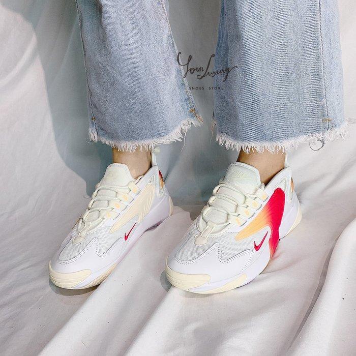 【Luxury】現貨 Nike Zoom 2K 皮革 復古 透氣網 紅黃芒果漸層 奶油鵝黃 老爸鞋 女鞋 韓國代購
