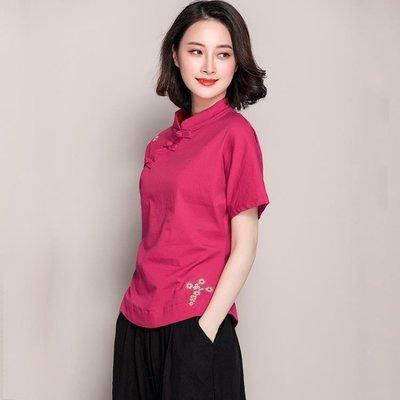 店長嚴選民族風復古女裝繡花上衣中國風顯瘦夏季短袖棉麻新款襯衫