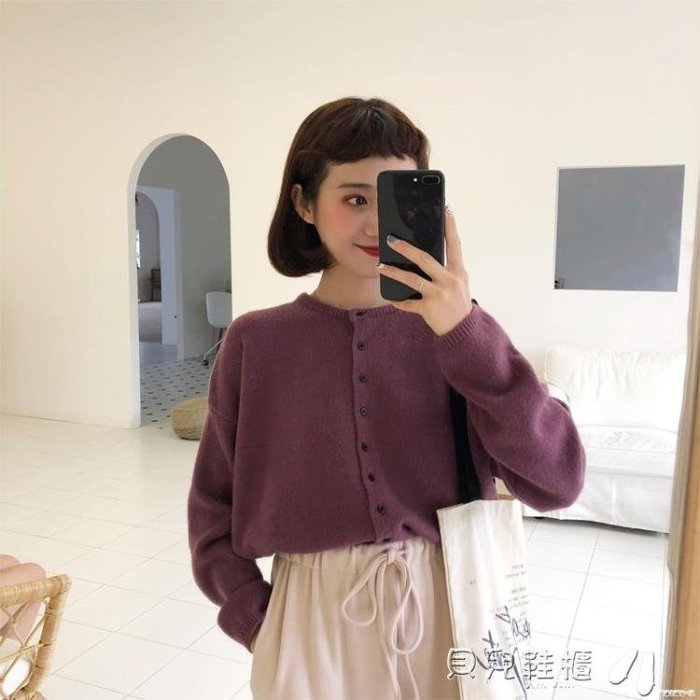 開衫毛衣2018新款韓版慵懶風毛衣開衫女糖果色長袖百搭厚實針織外套