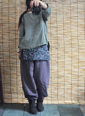 (老銀屋)春秋中式經典手工盤扣斜襟亞麻上衣