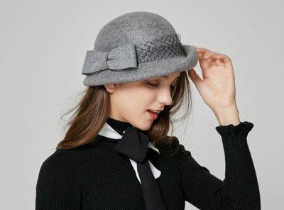 時尚羊毛蝴蝶結網紗秋季冬款貝雷帽羊毛呢英倫禮帽韓版潮帽子