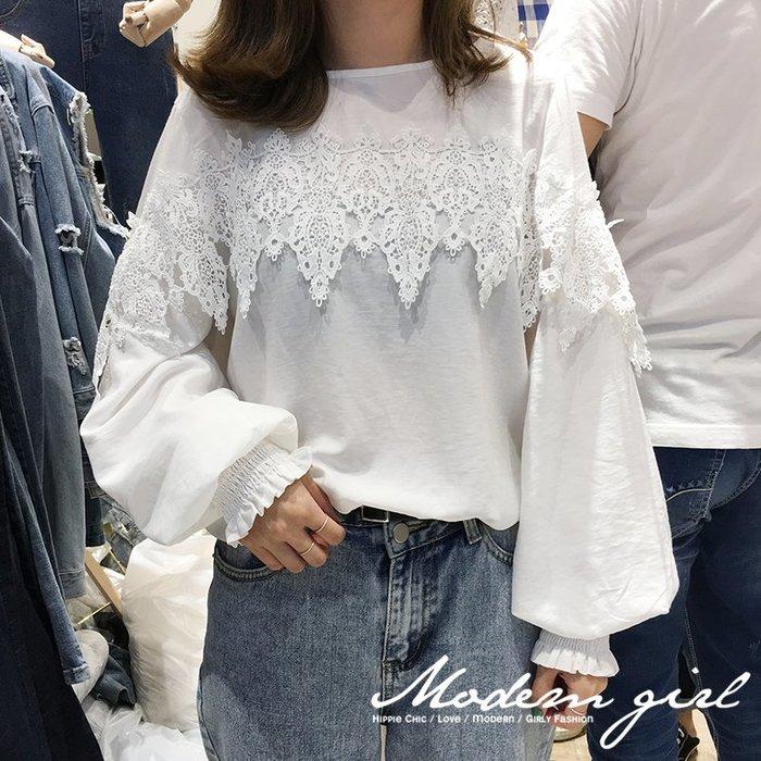 Modem Girl♥100%實拍 限時特價 正韓 超美 勾花蕾絲輕柔雪紡上衣
