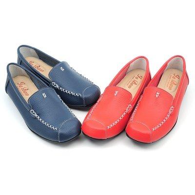 ❤含運❤ │鞋念 美人館│MIT真皮簡約縫線乳膠豆豆美鞋-橘色/藍色 38.39號【0814-177】