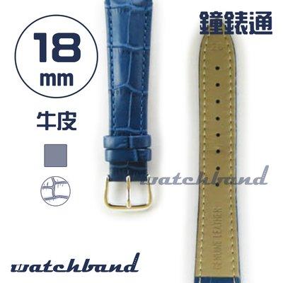 【鐘錶通】C1.61AA《霧面系列》鱷魚格紋-18mm 霧面寶藍┝手錶錶帶/皮帶/牛皮錶帶┥