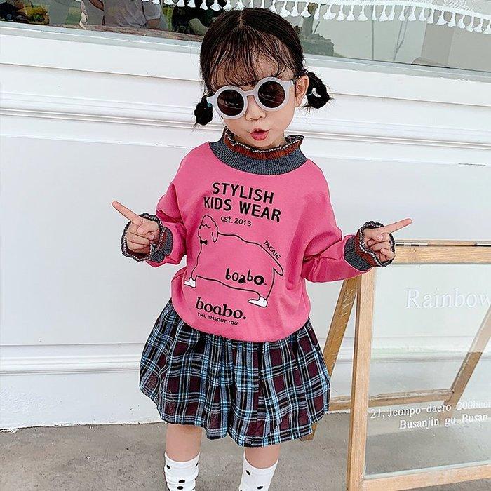 【溜。溜。選物】1+1 中小童新款秋裝 卡通長袖T恤+短裙 兩件組 套裝