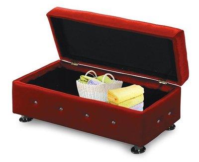 ~水鑽紅色絨布3尺收納式長方沙發椅凳1855274-4~巧匠家具批發廣場~