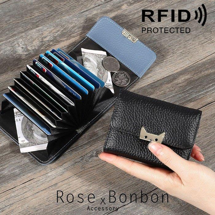 日本Rfid防射頻貓咪風琴卡包 真皮卡包 卡夾 軟牛皮 方型手拿零錢包 皮夾Rose Bonbon
