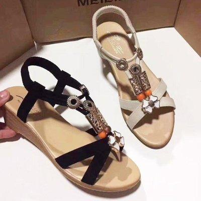 厚底楔形涼鞋女夏季平底學生韓版新款波西米亞水鉆串珠中跟露趾女