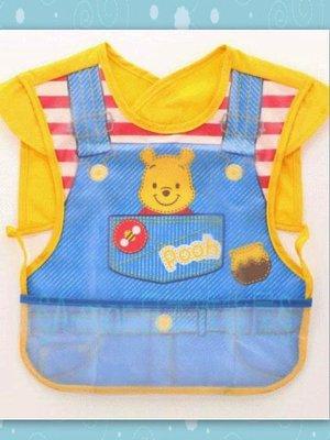 迪士尼Disney可愛小熊維尼pooh卡漫版 *防水幼兒圍兜兜*寶寶用餐圍裙.防水短袖 服裝圍裙口袋* 限定
