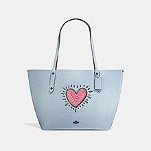 Coco小舖COACH 28645 Coach X Keith Haring Market Tote粉紅愛心冰藍色托特包