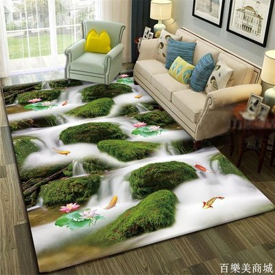 精選  自然山水地毯客廳臥室茶幾沙發家用地墊長方形床邊毯衛生間防滑墊