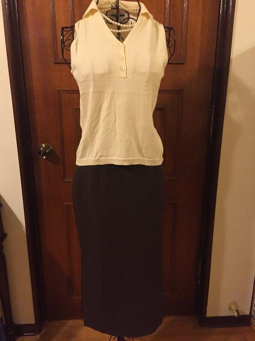 ESPRIT - 氣質優雅設計深咖啡色開叉長裙 - 送Color 18 鵝黃色背心(促銷商品)